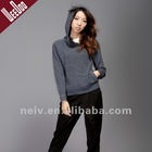 Fashion hooded sweater,long sleeves,zipper at neck,WS1110