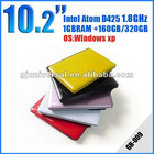 10.2 inch netbook Intel Atom D425 1.8G Memory 1GB HDD 160GB mini laptop notebook umpc epc laptops S30