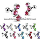 Steel cartilage straight barbell with CZ earring body piercing jewelry
