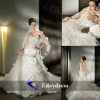 Organza Tulle Strapless Sweetheart Fitting Flare Corset Bodice Lace Up Back Bridal Dresses Wedding Dress