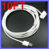 10 Feet 3M Long USB data Cable for iPhone 4 4G 4S 3G S iPod iPad 2 4G IPAD
