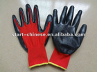 Red nylon gloves with nitrile coated