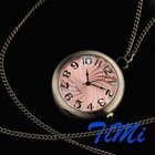 NEW FASHION MINI ROUND POCKET WATCH NECKLACE W CHAIN 48