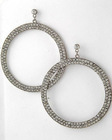 WLE-3627-Rhodiumized Clear Rhinestone Lead Compliant Circle Dangles Post Earring Set