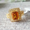 14k Yellow Gold with Genuine Citrine Traditional Women's Wedding Band nr0015