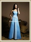 2012 Cheap Elegant Dropped Waist Strapless Floor Length Sky Blue Bridesmaid Dress