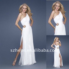 Enchanting and inexpensive one shoulder white chiffon bridesmaid dress