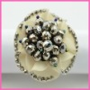 promotional item wholesell cheap antique plastic beads fabric flower accessory napkin ring /napkin holder