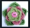 fresh green crochet flower with button,button decorative flower