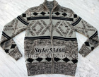 2013 Men Jacquard Knit Cardigan with Zipper