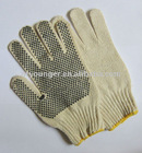Natural white polyester and cotton knitted gloves with pvc dots