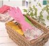 Monolayer flower household latex gloves