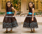 Chocolate Color Dress w/Turquoise Embroidered Flower Girl Dress