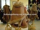 2013 Ladies genuine cashmere shawl trim with genuine fox fur,cashmere ponchos,cashmere capes