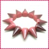 2012 New Fashion Peach Frost One Row Punk Style Spike Hedgehog Rivet Bracelet, Hot Sale Stretch Adjustable Rivet Spike Bracelet
