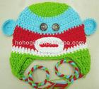 Multi color crochet Monkey baby Hat