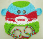 Multi color crochet Monkey baby Hat