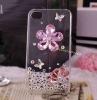 plain purple crystal flower bling phone case for iphone 4/4s diamond bling phone case for iphone 4g 304