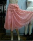 LUX Boho Stretch Netting Skirt S Lined Layered Tiers Cummerbund Waist HOT