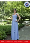 Chiffon Wide Sweetheart Neckline Crisscross Gathered Bodice with Bow Waistband blue dresses bridesmaid dress