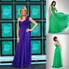 Chiffon Royal And Green One Shoulder Sheath Sweep Train Handamde Flower Prom Dress Evening Gown