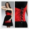 Strapless black and red beaded cocktail dress hy342