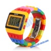 Multicolor Cute Block Bricks Design with LED Night Light Digital Wrist Watch for Girls/Kids(Rainbow)