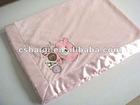 plush baby blanket with satin trim