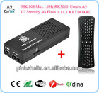 Google Android 4.1 dual core A9 Rockchips RK3066 MK808 1G DDR3 8GB flash 1.6GHz + keyboard hd media player 5.1 dual core mid
