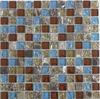 Kingdom crackle square glass mix stone mosaic tile