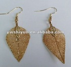 small size 24k gold natural leaf earring