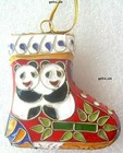 Cloisonne Christmas Gift, Christmas shoes, with panda pattern, hanging decoration, 56.5x57.5mm, Sold by PC