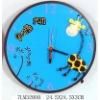 decorative blue children wooden wall clock