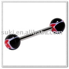 Body jewelry, Red Butterfly Black UV Acrylic Tongue Ring -Barbell Body Jewelry