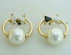 2012 trendy big pearl bow shape CZ earring
