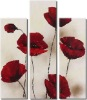 Handmade stretched oil painting, red rose flower canvas art painting , mounted on the wall directly