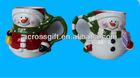 Painted ceramic mug snowman