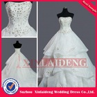 YW-12061487 Real Sample Strapless A-line Wedding Dress With Feather Embellished Top