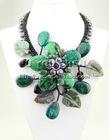 "Vintage Phoenix Gems & Black FW Pearl & Onyx Leaf Necklace 18"""