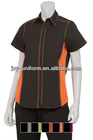 women's short-sleeve contrast color fitted work shirt