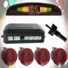 Car Reverse Rear Radar System 4 Maroon Wire Parking Sensor With LED Display BiBi Buzzer Kit