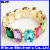 Fashion Colorful Crystal Gem Adjustable Gold Tone Bracelet 3 Colors DE-291