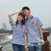 horizontal stripe blue color couple cotton polo t-shirt & shirts