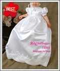New white appliqued long cheap baby dresses