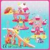 amusement park toys with plastic castle,slide,ferris wheel and horse toy