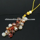 fashion crystal bead mobile charm, high quality Korea crystal cell phone accessories, color crystal bead mobile accessories