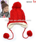 2012 Hot Knitted Winter Earflap Baby Girls Wool Hat