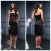 2011 New Modest Strapless A-Line Sash Backless Taffeta Knee-Length New Style Bridesmaid Dress