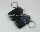 black plastic solar keychain flashlight with 3 leds