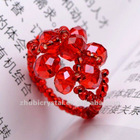 red fashion crystal glass ring